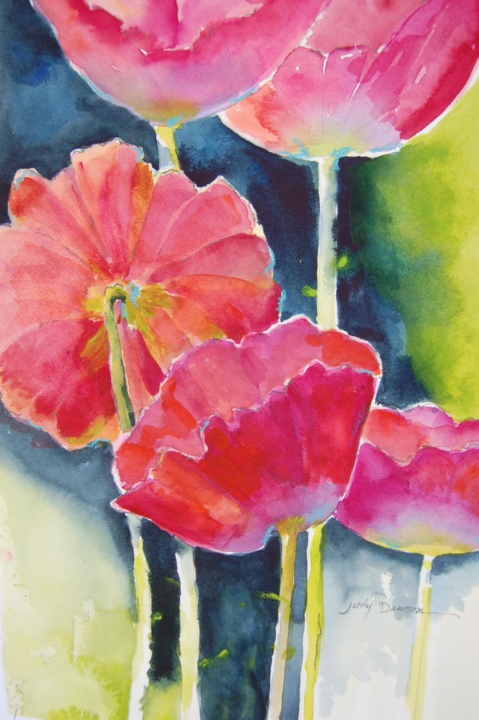 "Pink Poppies, 18"" x 24"" available"